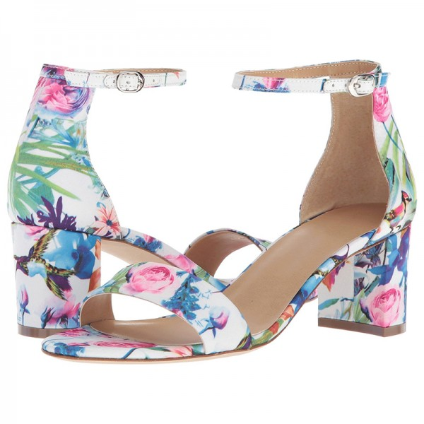 Multicolor Floral Chunky Heel Open Toe Ankle Strap Sandals image 1