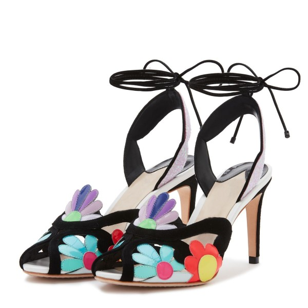 Multicolor Flowers Glitter Slingback Heels Stilettos Strappy Sandals image 1