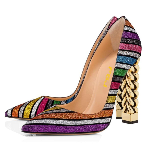 Multicolor Glitter Chunky Heels Pumps image 1