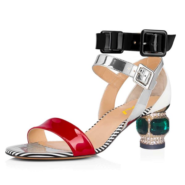 Multicolor Patent Leather Buckle Rhinestone Chunky Ankle Strap Sandals image 1