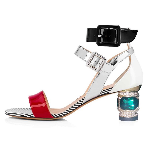 Multicolor Patent Leather Buckle Rhinestone Chunky Ankle Strap Sandals image 2