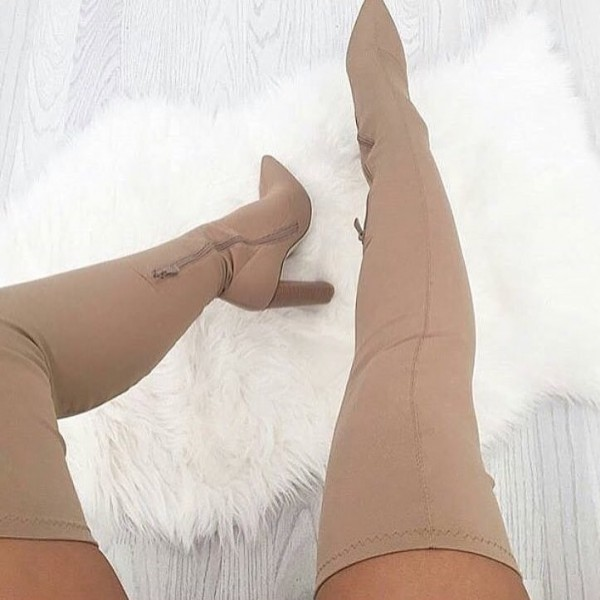 Natural Color Lycra Thigh High Heel Boots Chunky Heel Boots  image 1