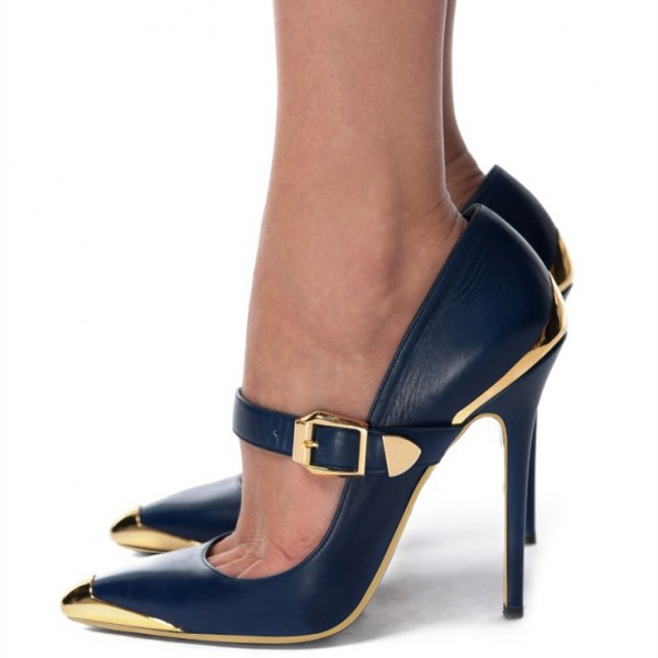 Navy and Gold Heels Metal Stiletto Heels Vintage Mary Jane Pumps  image 1