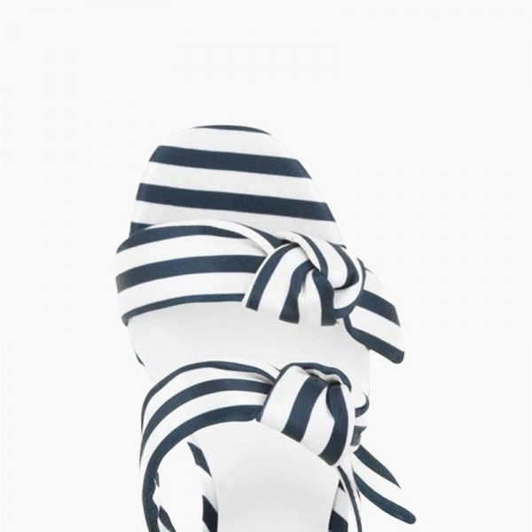Navy and White Stripes Triple Tie Block Heel sandals image 2
