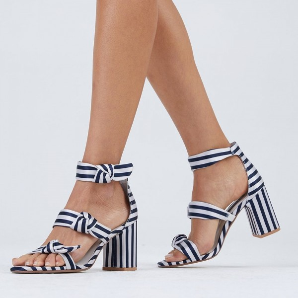 Navy and White Stripes Triple Tie Block Heel sandals image 4