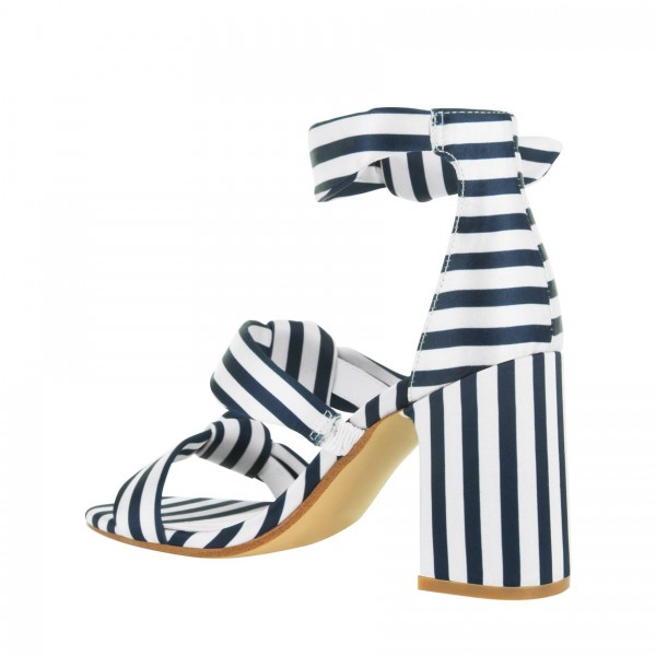 Navy and White Stripes Triple Tie Block Heel sandals image 5