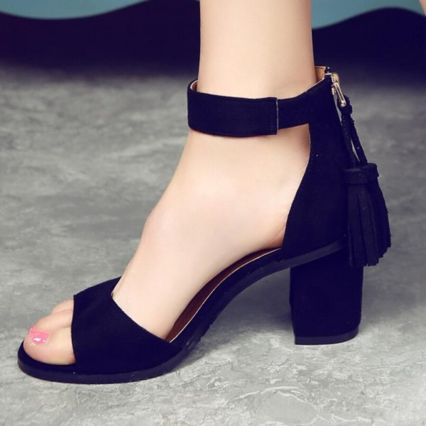 Black Chunky Heel Ankle Strap Sandals with Tassels image 1