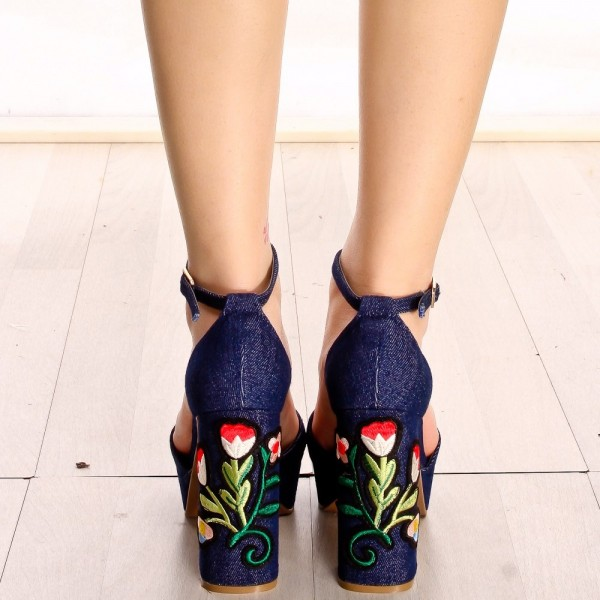 Navy Denim Flower Embroidered Platform Chunky Heel Ankle Strap Sandals image 3