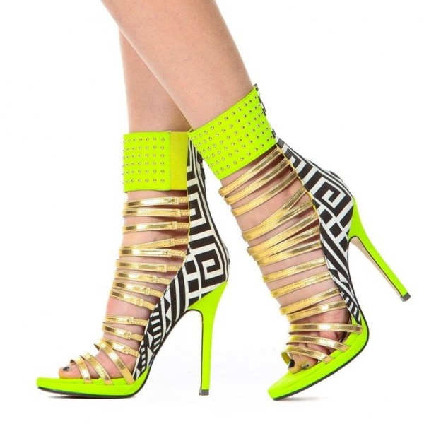 Lime Green Gladiator Sandals Open Toe Stiletto Strappy Heels For Women image 5