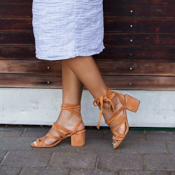 Tan Strappy Sandals Suede Lace up Chunky Heels for Women image 1