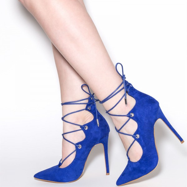 Royal Blue Lace up Heels Suede Pointy