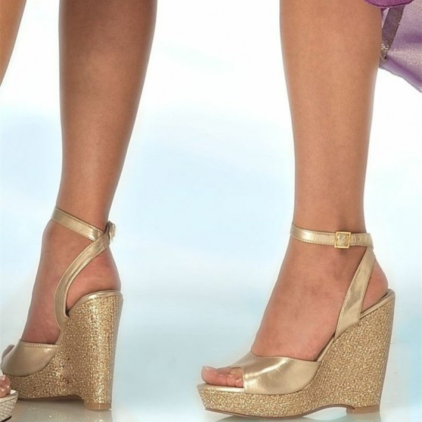 Women's Gold Wedge Sandals Ankle Strap Sandals US Size 3-15 by FSJ image 1