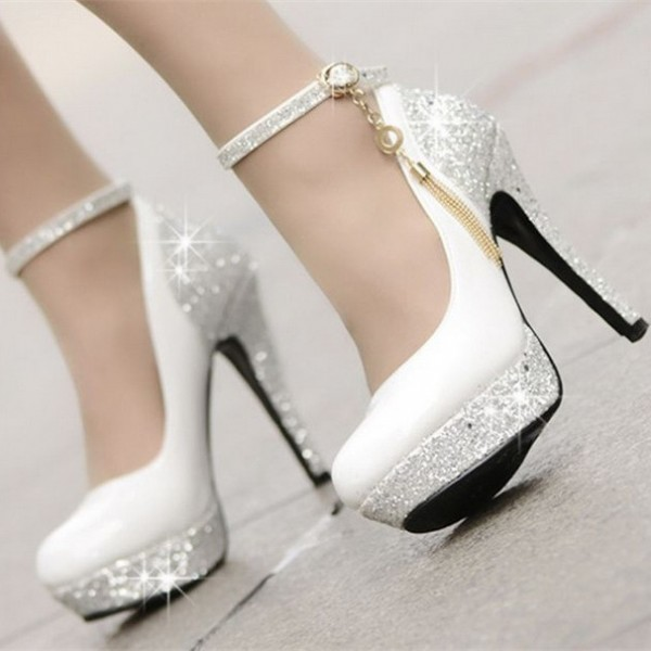 Heel Platform Ankle Heels Straps Stiletto Sequined Pumps White Women's EHIY9W2D
