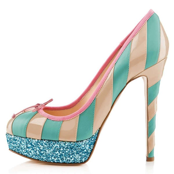 Nude And Cyan Bow Glitter Platform Heels Pumps image 2