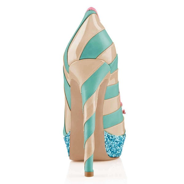 Nude And Cyan Bow Glitter Platform Heels Pumps image 4