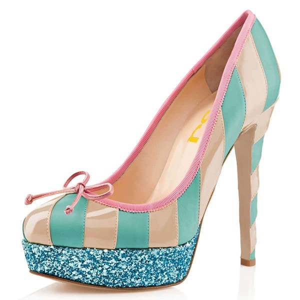 Nude And Cyan Bow Glitter Platform Heels Pumps image 1