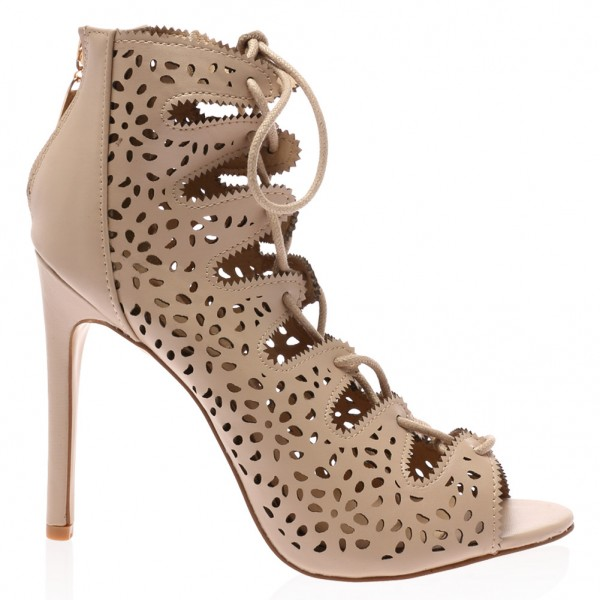 Nude Strappy Heels Hollow out Lace up Sandals Stiletto Heels image 3