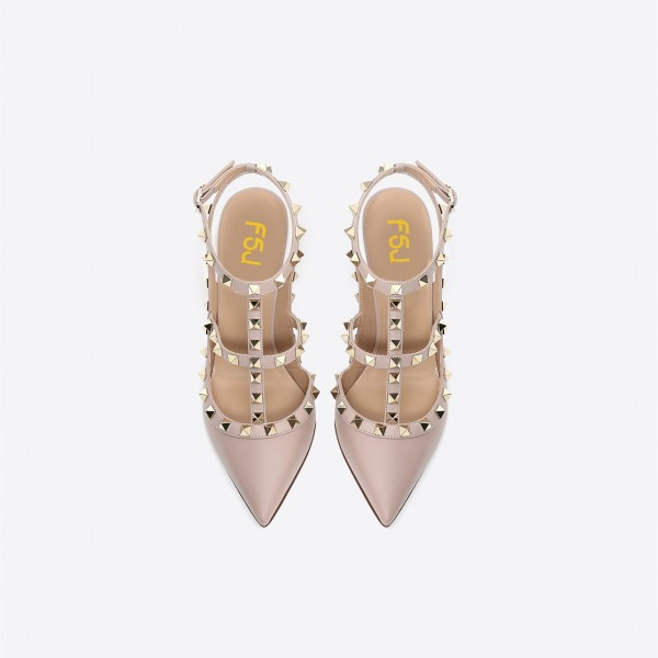 Nude Studs Shoes Slingback T Strap Stiletto Heel Pumps image 4