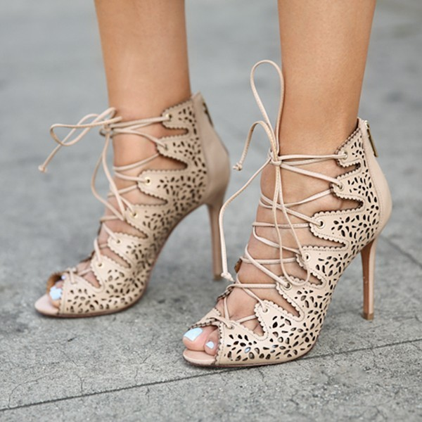 Nude Strappy Heels Hollow out Lace up Sandals Stiletto Heels image 4
