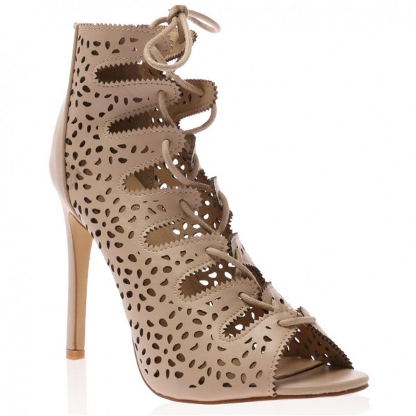 Nude Strappy Heels Hollow out Lace up Sandals Stiletto Heels image 5