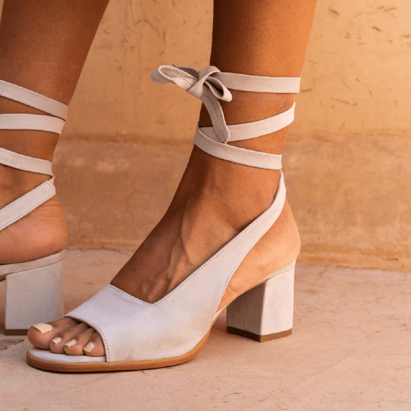 Off-white Suede Open Toe Block Heels Strappy Slingback Sandals image 1
