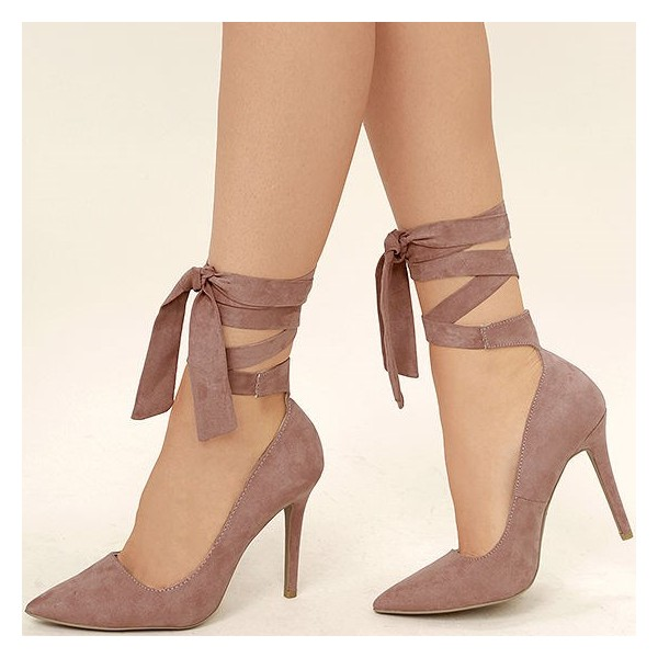 store finest fabrics offer Taupe Strappy Heels Pointy Toe Suede Pumps Stiletto Heels