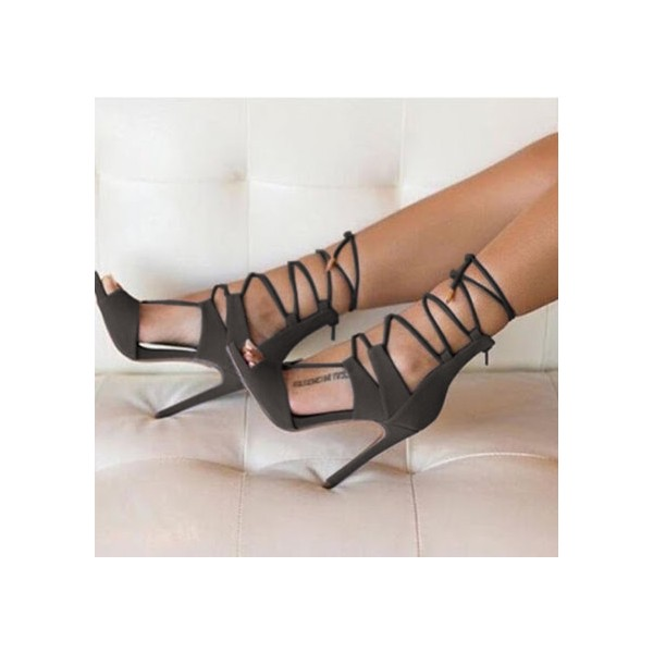 Olive Lace up Sandals Peep Toe Stiletto Heel Suede Sexy Shoes image 1