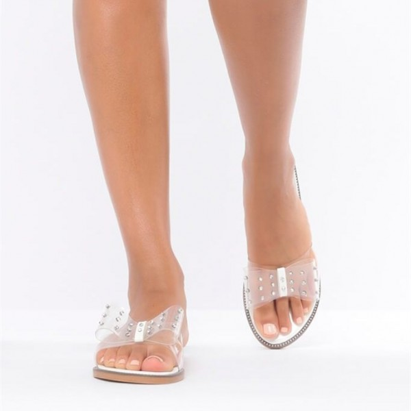 Open Toe Flats Clear Sandals Perspex Shoes US Size 3-15 image 3