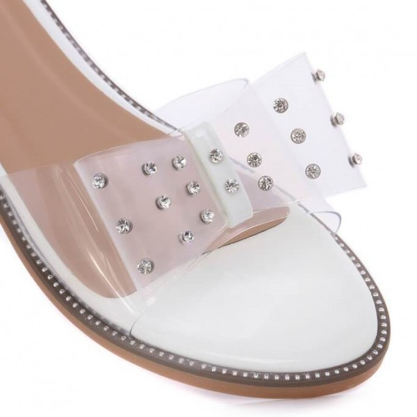 Open Toe Flats Clear Sandals Perspex Shoes US Size 3-15 image 4