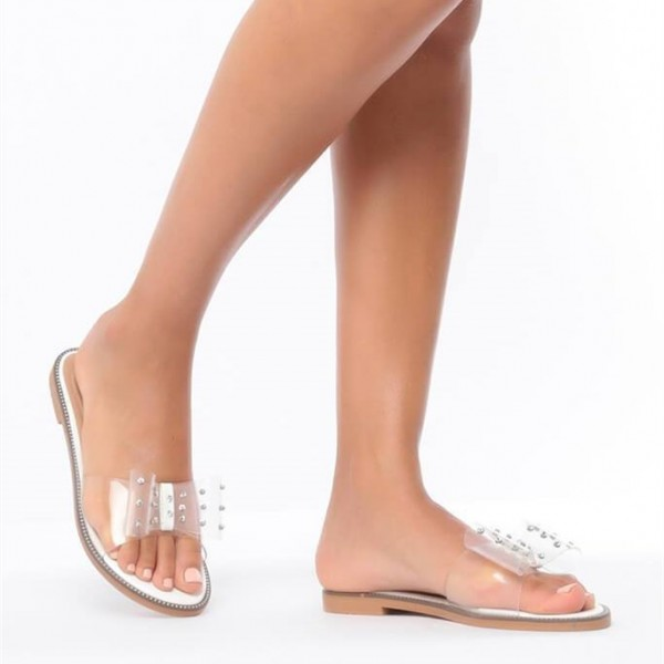 Open Toe Flats Clear Sandals Perspex Shoes US Size 3-15 image 5