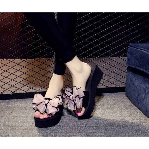 Black Platform Women's Slide Sandals Open Toe Pink Bow Slides Shoes image 2