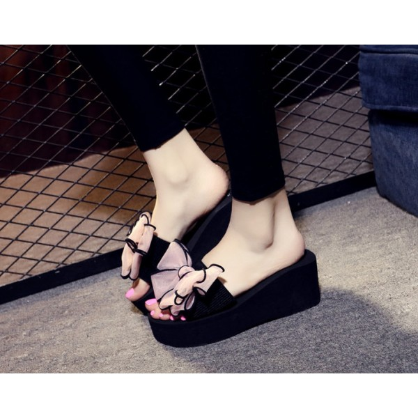 Black Platform Women's Slide Sandals Open Toe Pink Bow Slides Shoes image 5
