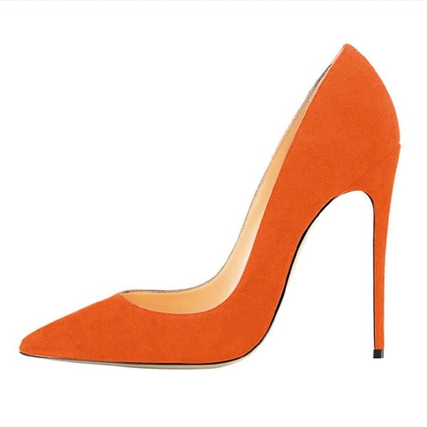 On Sale Orange Stiletto Heels Office Heels Pointy Toe Suede Shoes image 3