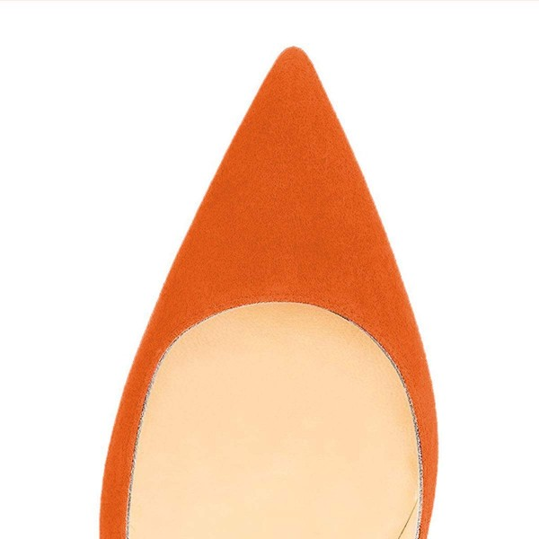 On Sale Orange Stiletto Heels Office Heels Pointy Toe Suede Shoes image 4