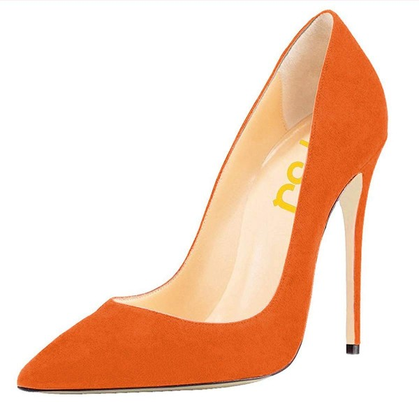 On Sale Orange Stiletto Heels Office Heels Pointy Toe Suede Shoes image 1