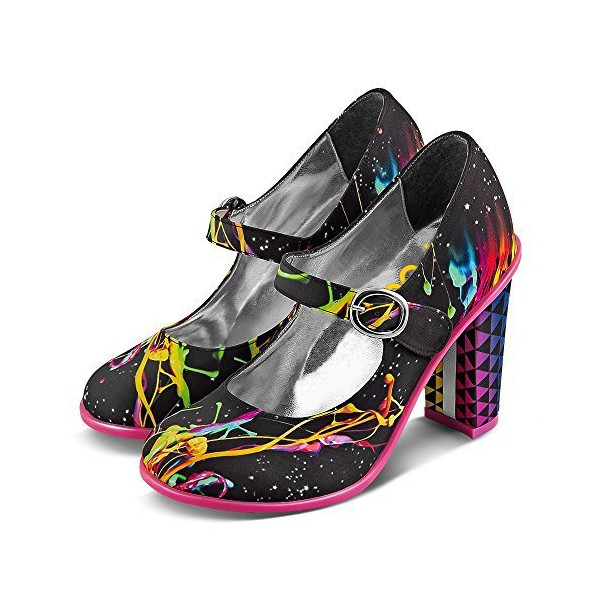 Women's Colorful Paint Mary Jane Shoes Chunky Heels Vintage Shoes image 3