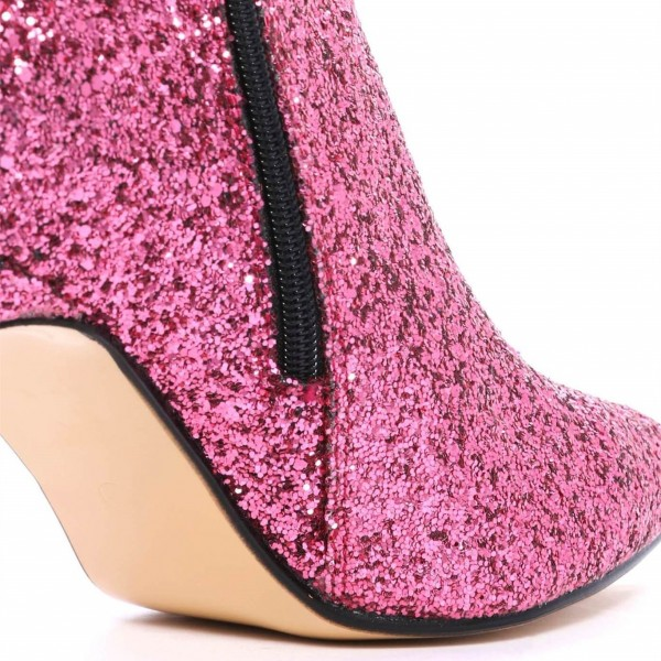 Pink Glitter Boots Pointy Toe Side Zipper Stiletto Heel Ankle Booties image 4