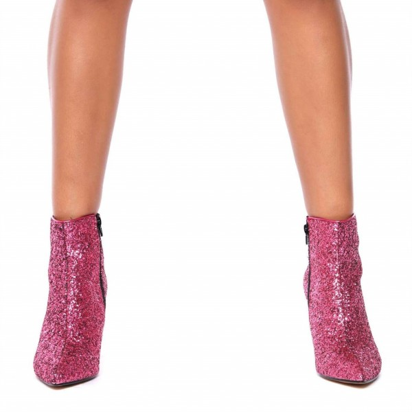 Pink Glitter Boots Pointy Toe Side Zipper Stiletto Heel Ankle Booties image 2