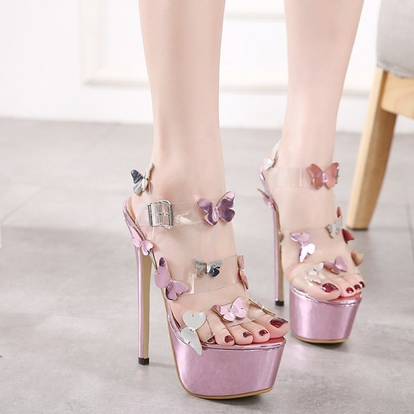 Butterfly Rose Gold Sandals Clear Platform High Heel Shoes image 2