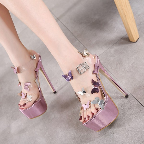 Butterfly Rose Gold Sandals Clear Platform High Heel Shoes image 3