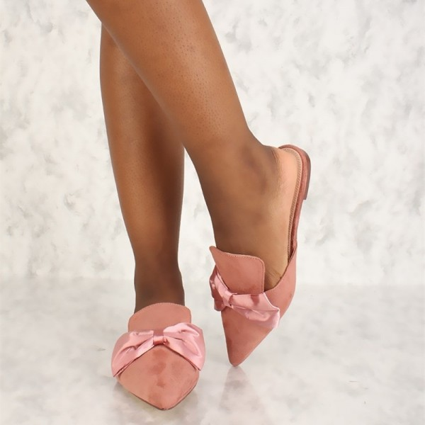 Pink Bow Flat Mule Loafers for Women image 1