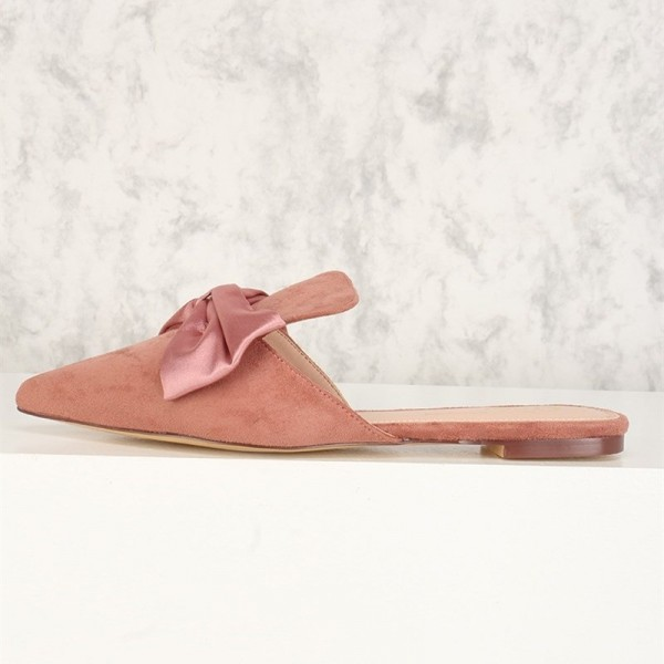 Pink Bow Flat Mule Loafers for Women image 2