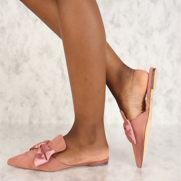 Pink Bow Flat Mule Loafers for Women image 3