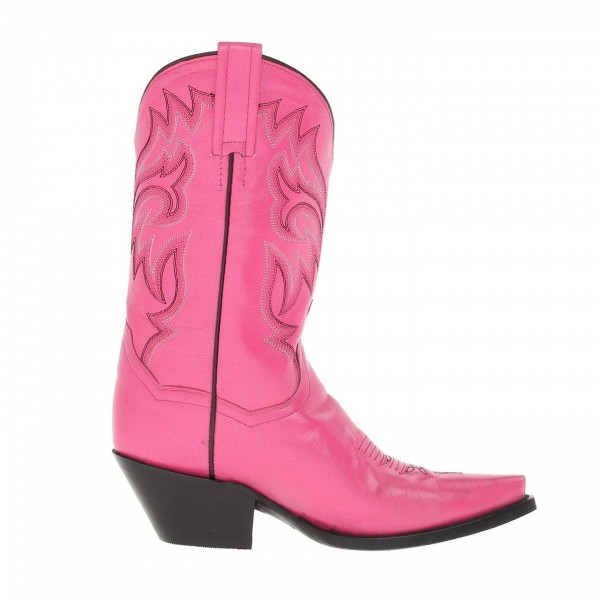 Pink Chunky Heels Cowgirl Boots Square Toe Ankle Booties image 3