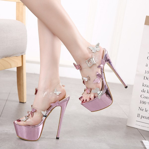 Butterfly Rose Gold Sandals Clear Platform High Heel Shoes image 1