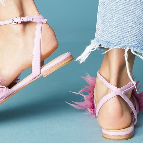 Pink Feather Ankle Strap Slingback Comfortable Flats Sandals image 2