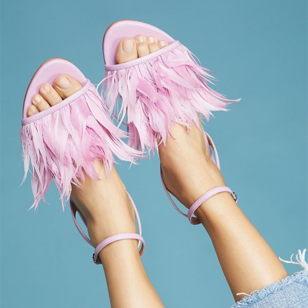 Pink Feather Ankle Strap Slingback Comfortable Flats Sandals image 1