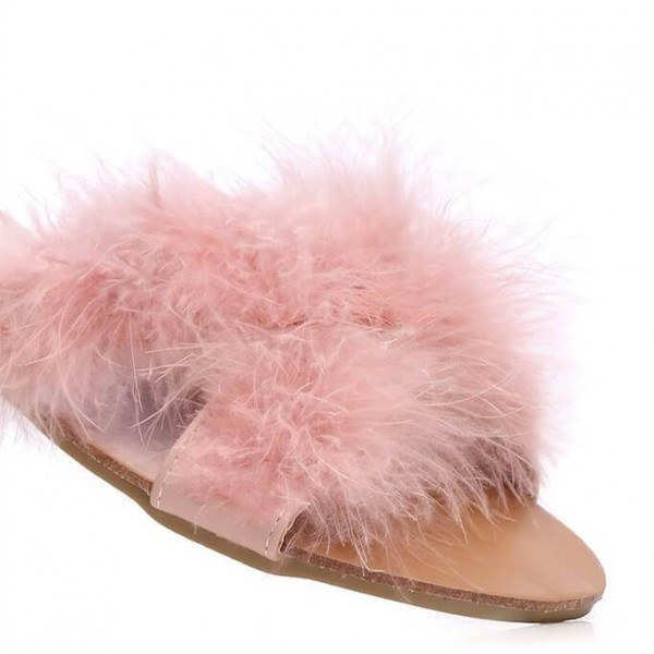 Pink Furry Women's Slide Sandals Open Toe Flats US Size 3-15 image 3
