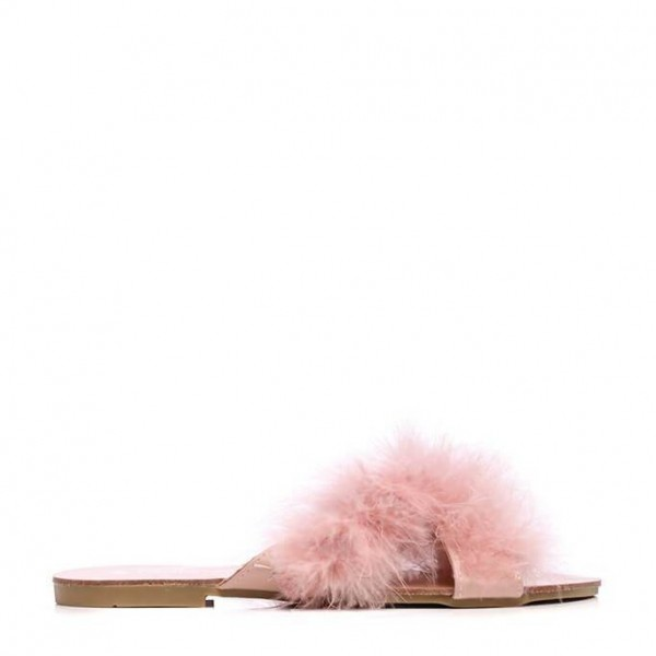 Pink Furry Women's Slide Sandals Open Toe Flats US Size 3-15 image 2