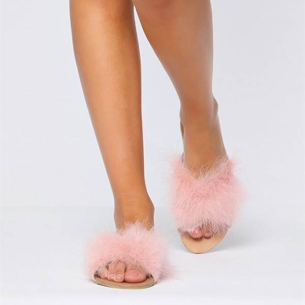 Pink Furry Women's Slide Sandals Open Toe Flats US Size 3-15 image 4
